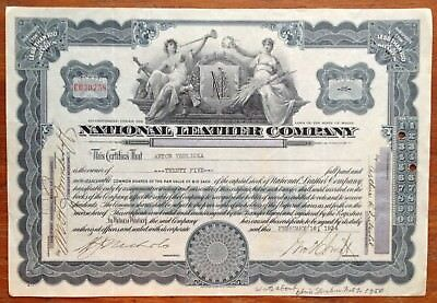 National Leather Company Stock Certificate