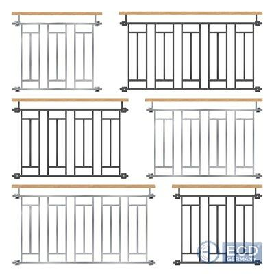 French juliet balcony security grid wood silver/anthracite balustrades 90-225cm