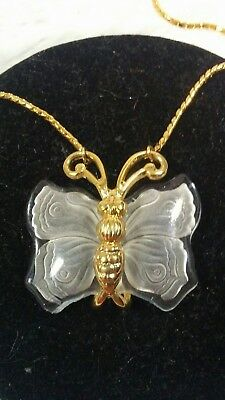 """Vintage NAPIER Frosted Cut Glass Butterfly Pendant, 34"""" Gold Tone Chain"""