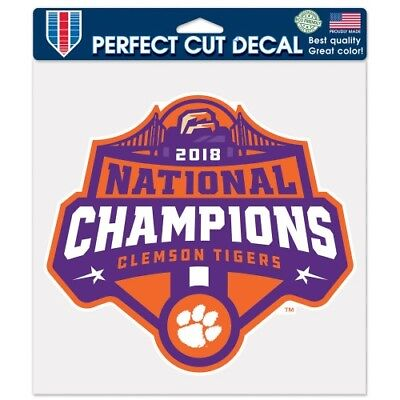 """Clemson Tigers 2018 National Champions Die-Cut Decal 8""""x8"""" For Car Windows"""