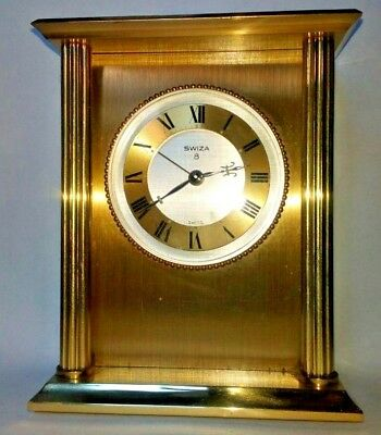 Collectable Heavy Brass Swiss Made Swiza 8 Wind-up Mechanical Desk Alarm Clock