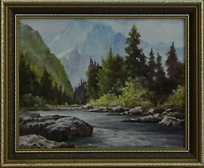 Oil on board by John E Fox. Stream with Mountains beyond. (1 of 2)