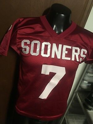 best cheap 765a7 ec975 OU OKLAHOMA SOONERS #7 red Football JERSEY Boys Youth M Medium 12/14 used