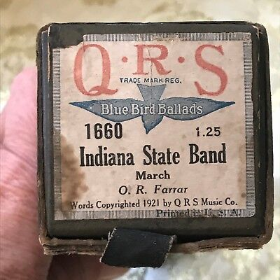 "QRS Player Piano Roll. Blue Bird Ballads ""Indiana State Band"" No.1660 Good Cond."