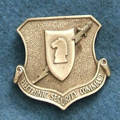 Vtg 1980s US Air Force Electronic Security Command USAF Military Belt Buckle