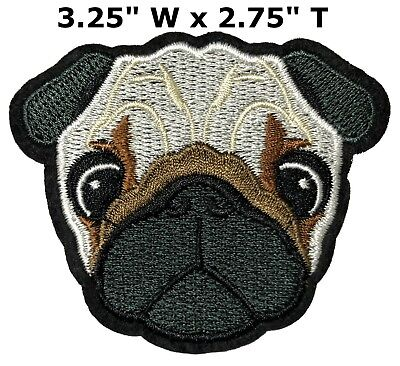 Realistic Pug Dog Breed Canine Animals Embroidery Patch Iron or Sew-on