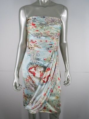 David Meister Dress Silk Party Cocktail Sz 10 Strapless Blue Multi Floral Draped