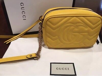a38e1c02bbae NEW Gucci GG Marmont Matelasse Mini Shoulder Bag in Yellow w/ dust cover &  box