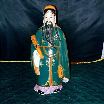 """Antique Vintage Chinese Sanxing God Wise man Fú Porcelain Figurine approx 8¼"""""""