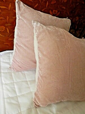 Silk & Viscose Velvet Cushions Pair + feather pads, 45 cm square