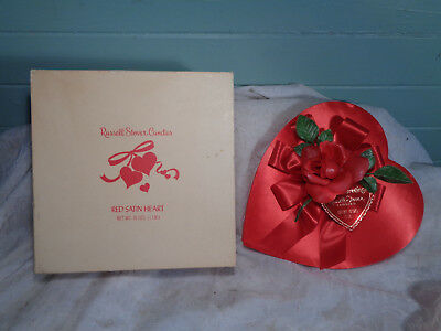 Vintage Valentine Day 1970s Russell Stover Candies Red Satin Heart Box Candy