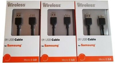 3 Pack Just Wireless USB 5ft Data Cable for Samsung Galaxy Note 3 & S5 - Black