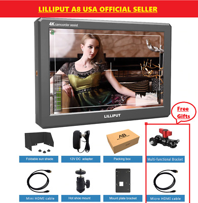 "Lilliput A8 8.9"" Utra Slim IPS Full HD 1920x1200 4K HDMI 3D-LUT monitor + V moun"