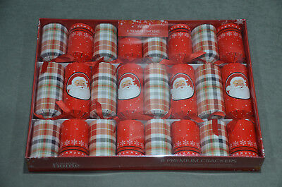 "8x Christmas Premium Crackers 12"" Family Party Tree Festive Gift Hat Snap Motto"