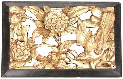 Antique Chinese Qing Carved Wood Panel Gold Gilt Bird Flowers Temple China Old