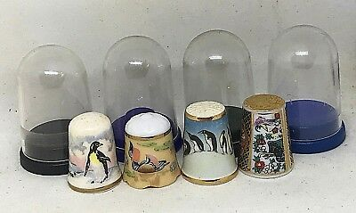 4 Vintage Collectible Thimbles: Penguins and Other Birds. Perfect!