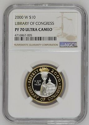 2000-W Library of Congress $10 Platinum & Gold Coin NCG PF 70 Ultra Cameo