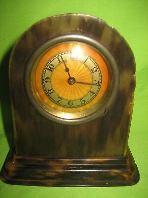 Vintage Small Marble Effect Plastic  Clock Wind Up Movement Working