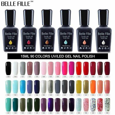 BELLE FILLE Multi Colors 15ml Nail Art Soak Off Gel Polish Manicure UV /LED Lamp