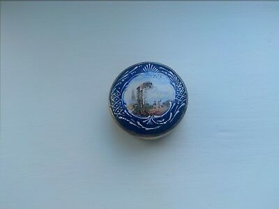 Rare 18thc Old Sheffield Plate snuff / patch box with Bilston enamelled lid