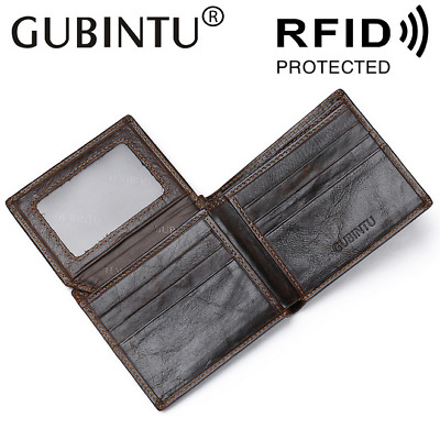 Men's Leather Cowhide Wallet Anti-magnetic Trifold Credit Card ID Holder Purse