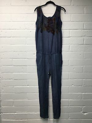 Women's Love2Wait Maternity Feather Jumpsuit L Blue