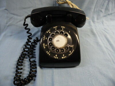 Vtg Bell System Western Electric Black Rotary Desk Modular Phone ~Tested Works!