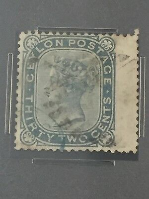 1877 Ceylon 32 Cents Scott #69 Pse Used/tab/error?/borneo/malaya