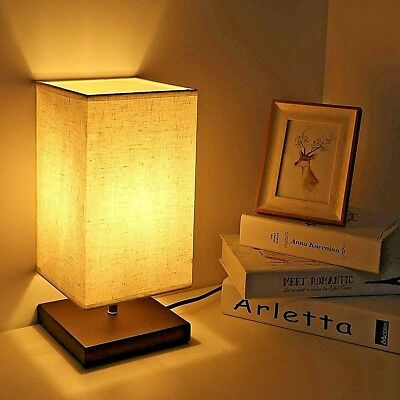 Bedside Table Lamp Retro Minimalist Desk Lamp w/ Solid Wooden Base Fabric Shade