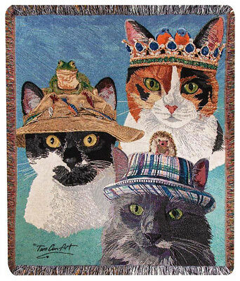 """THROWS - """"CRAZY CATS"""" TAPESTRY THROW BLANKET - 50"""" x 60"""" - CAT THROW"""