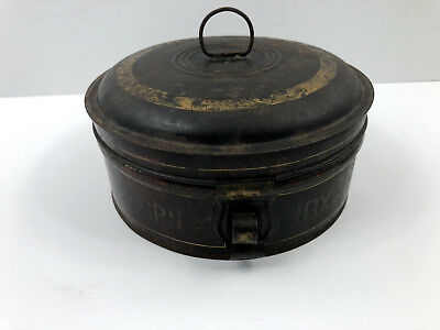 Antique Tin Toleware Spice Caddy Canister Metal Round Box Black Vintage 7 Tins