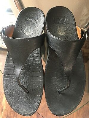 16300c0c348927 Fit Flop Fitness Sandals Black 458-001 The Skinny Thong Buckle Women s Size  11