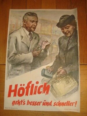 Affiche propagande ALL allemande WW2 encouragement au rationnement authentique