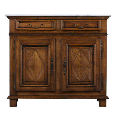 1890's Antique Provincial-Style Buffet with Carrara Marble Top