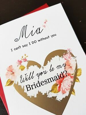 will be you my bridesmaid card flower girl maid of honour godmother personalised