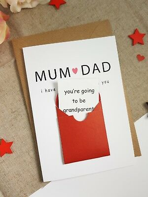 Pregnancy announcement card for mum dad grandparents parents reveal ideas funny