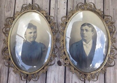 Pair Antique Ornate Brass Convex Glass Oval Hanging Pictures Frames Vtg 1920's