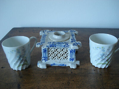 Chinese blue and white porcelain inkwell encrier chinois XIXe+ 2 tasses Haviland