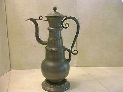 Large Antique French ETAIN Pewter Arts & Crafts Hallmarked Flagon Water Pitcher