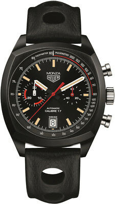 New TAG Heuer Monza Black Leather Strap Men's Watch CR2080.FC6375