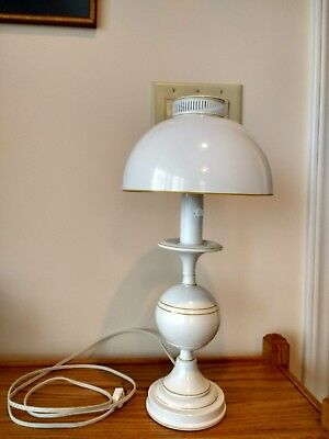 "White Metal Table Lamp, gold trim, 17.5""H, Round Metal Shade Table Lamp, Desk La"