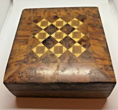 VERY FANCY INLAID MARQUETRY VICTORIAN DRESSER BOX HAND MADE ca 1860s good condit