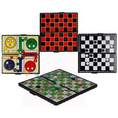 Pocket Size Magnetic Travel Board Games. Chess, Draughts, Ludo, Snakes & Ladders