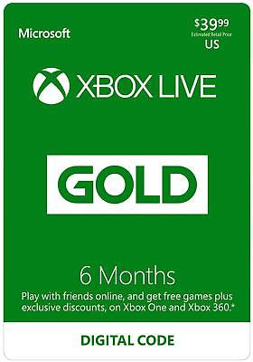 Xbox Live Gold 6 Month Code - Printed on Paper - No Email or Message Delivery
