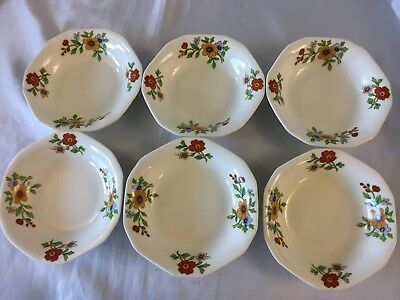 6 Soup Bowls Alfred Meakin Princess Shape Floral Red Yellow Flower Vintage 4.75""