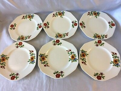 6 Alfred Meakin Plate Dish Bread Dessert Princess Shape Floral Red Flower 5.75""