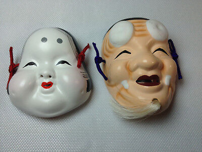 Miniature Japanese Masks Laughing Man & Woman (Ceramic or Pottery) Hanging Cords