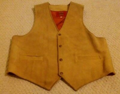 Pypsa Mens Size 44 Light Brown Genuine Leather Snap Up Vest