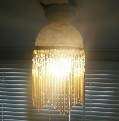 Golden glass light shade with beads