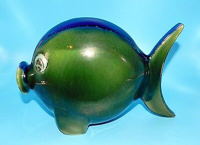 Mid-Century Italian Pottery Hand Painted Angel Blow Fish Figurine Marked Italy
